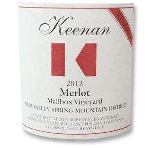 2012 Robert Keenan Winery Merlot Reserve Mailbox Vineyard Spring Mountain District