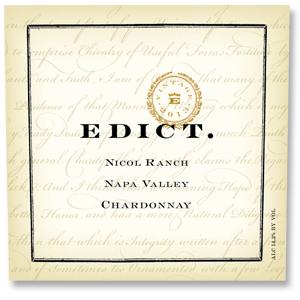 2013 Edict Wines Chardonnay Nicol Ranch Wild Horse Valley Napa Valley