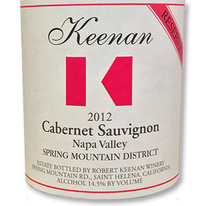 2012 Robert Keenan Winery Cabernet Sauvignon Reserve Spring Mountain District