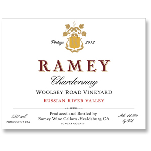 2012 Ramey Wine Cellars Chardonnay Woolsey Road Vineyard Russian River Valley