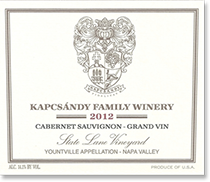 2007 Kapcsandy Family Winery Cabernet Sauvignon State Lane Vineyard Yountville