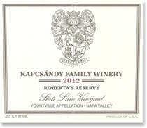 2007 Kapcsandy Family Winery Roberta's Reserve State Lane Vineyard Yountville Napa Valley