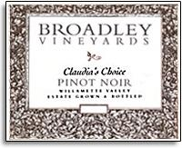 2010 Broadley Vineyards Pinot Noir Claudia's Choice Willamette Valley