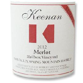2012 Robert Keenan Winery Merlot Reserve Mailbox Vineyard Spring Mountain District