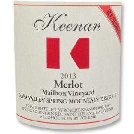 2013 Robert Keenan Winery Merlot Reserve Mailbox Vineyard Spring Mountain District