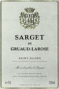 2009 Chateau Gruaud Larose Sarget de Gruaud Larose Saint-Julien (Pre-Arrival)