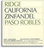 2012 Ridge Vineyards Zinfandel Dusi Ranch Paso Robles