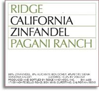 2011 Ridge Vineyards Zinfandel Pagani Ranch Sonoma Valley