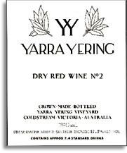 2010 Yarra Yering Vineyards Dry Red Wine No 2 Yarra Valley