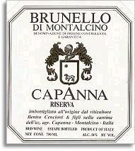 2001 Capanna Brunello Di Montalcino Riserva