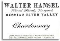 2014 Walter Hansel Winery Chardonnay Hansel Family Vineyards Russian River Valley