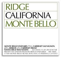2009 Ridge Vineyards Monte Bello Santa Cruz Mountains