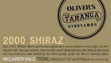 2005 Oliver's Taranga Taranga Shiraz McLaren Vale