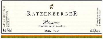 2012 Ratzenberger Bacharacher Rivaner Trocken