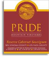 1995 Pride Mountain Vineyards Cabernet Sauvignon Reserve Sonomanapa Counties