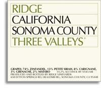 2011 Ridge Vineyards Ridge Three Valleys Sonoma