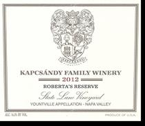 2008 Kapcsandy Family Winery Roberta's Reserve State Lane Vineyard Yountville Napa Valley