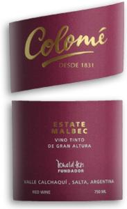 2010 Colome Malbec Estate Salta