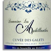 2012 Domaine Les Aphillanthes Cotes Du Rhone Villages Les Galets Plan De Dieu