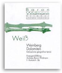 2012 Baron Widmann Weiss Vigneti Delle Dolomiti