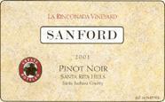 2010 Sanford Winery Pinot Noir La Rinconada Vineyard Sta Rita Hills