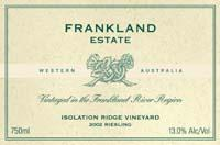 2012 Frankland Estate Riesling Isolation Ridge Frankland River
