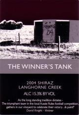 2010 Winner's Tank Shiraz Langhorne Creek