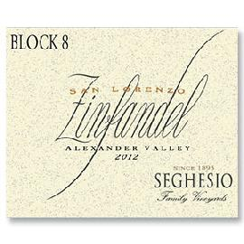 2012 Seghesio Family Vineyards Zinfandel Block 8 San Lorenzo Vineyard