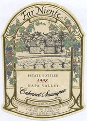 1999 Far Niente Winery Cabernet Sauvignon Estate Bottled Napa Valley