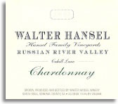 2007 Walter Hansel Winery Chardonnay Cahill Lane Vineyard Russian River Valley