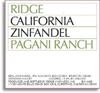 2010 Ridge Vineyards Zinfandel Pagani Ranch Sonoma Valley