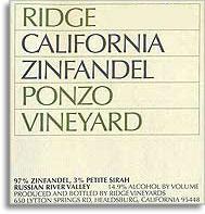2010 Ridge Vineyards Zinfandel Ponzo Vineyards Russian River Valley