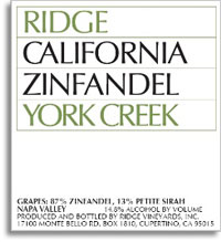 Vv Ridge Vineyards Zinfandel York Creek Vineyard Spring Mountain