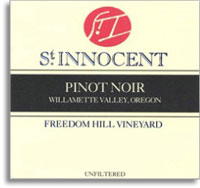 Vv St Innocent Winery Pinot Noir Freedom Hill Vineyard Willamette Valley