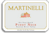 2010 Martinelli Winery Pinot Noir Zio Tony Ranch Russian River Valley