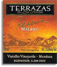 2013 Terrazas de los Andes Malbec Reserva Mendoza Vistalba