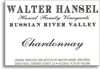 2013 Walter Hansel Winery Chardonnay Hansel Family Vineyards Russian River Valley