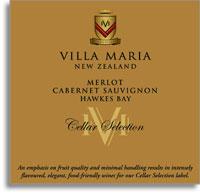 2004 Villa Maria Estate Cabernet Sauvignon Merlot Cellar Selection Hawkes Bay