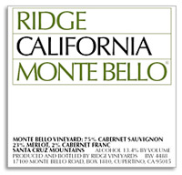 2011 Ridge Vineyards Monte Bello Santa Cruz Mountains