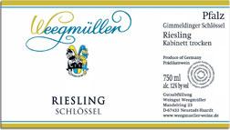 2008 Weingut Weegmuller Gimmeldinger Schlossel Riesling Kabinett Trocken