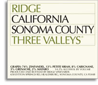 2013 Ridge Vineyards Ridge Three Valleys Sonoma