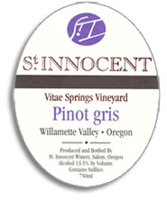 2010 St. Innocent Winery Pinot Gris Vitae Springs Vineyard Willamette Valley
