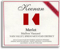 2009 Robert Keenan Winery Merlot Reserve Mailbox Vineyard Spring Mountain District