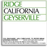 2012 Ridge Vineyards Geyserville Sonoma County